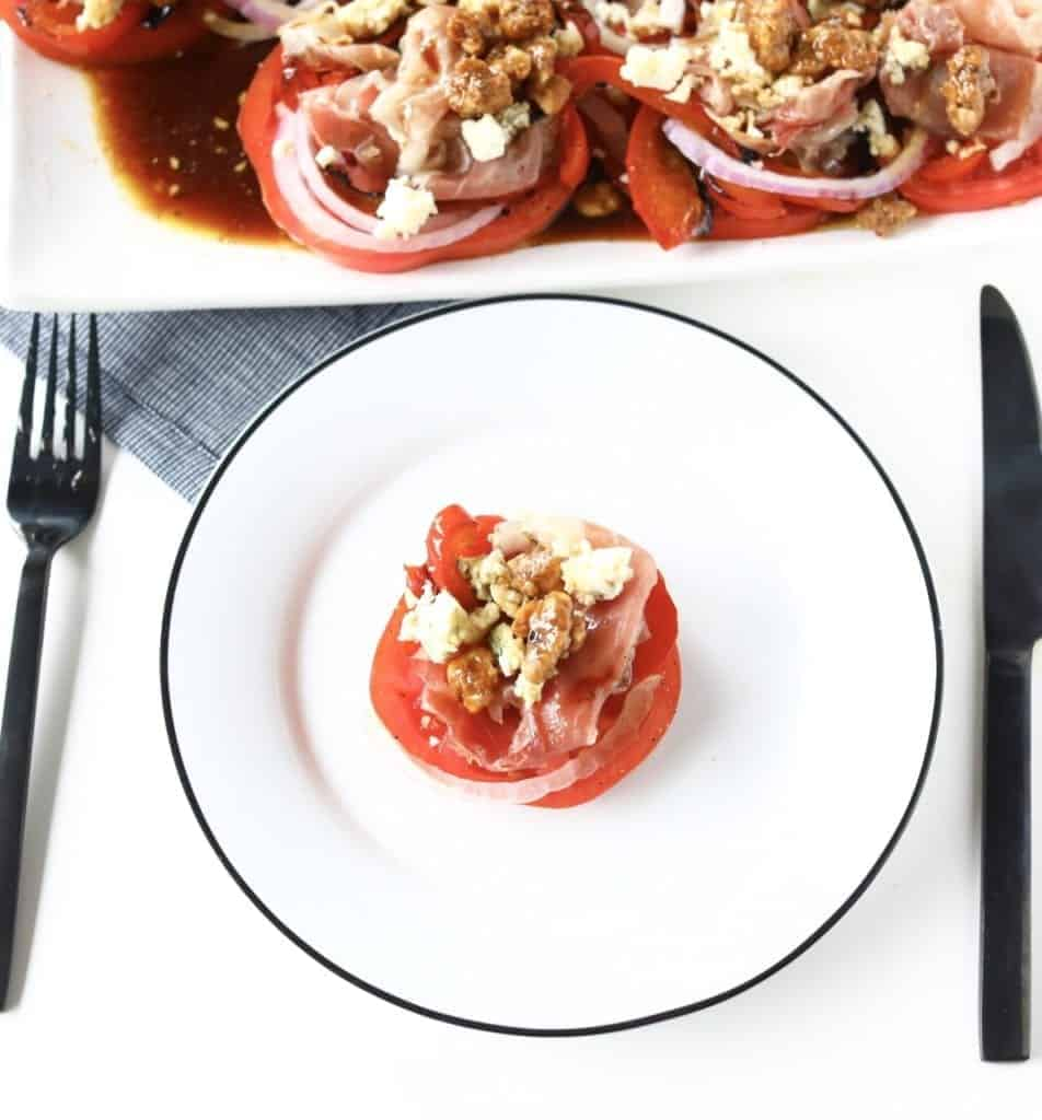 prosciutto, candied walnuts, tomato, roasted red pepper and sweet balsamic