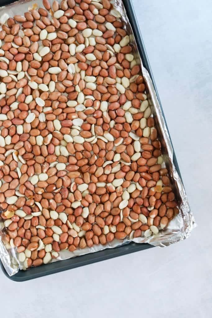 raw red skin peanuts ready to oven roast to make peanut butter