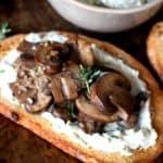 mushroom toast with ricotta spread