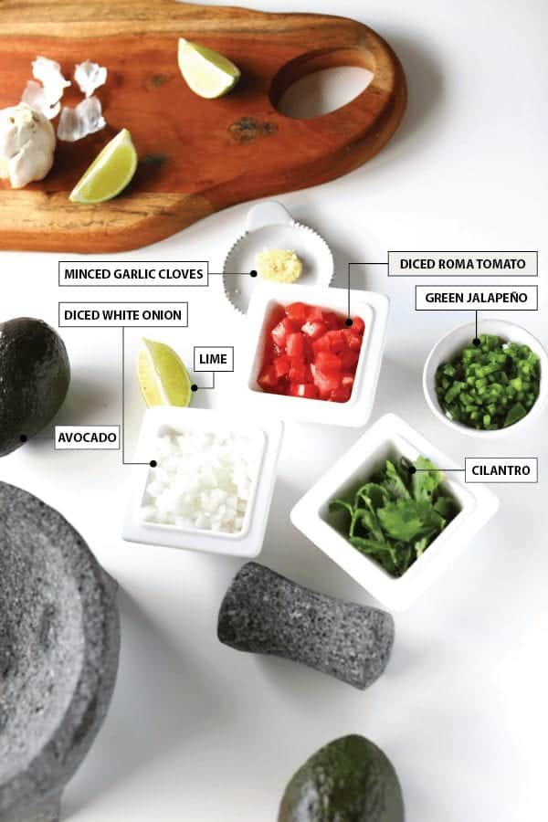 Ingredients to make guacamole
