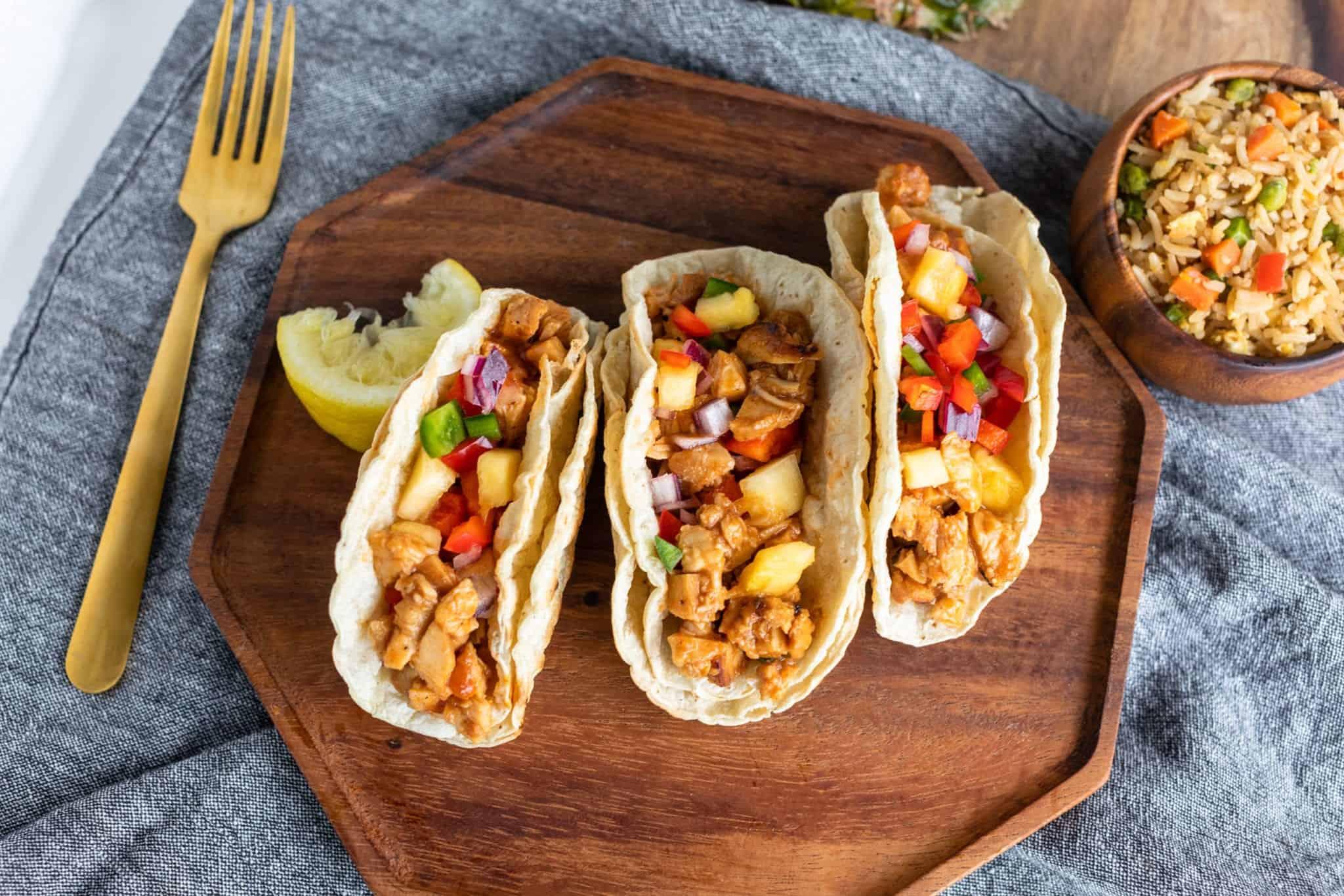 Hawaiian Chicken Tacos with Pineapple Salsa