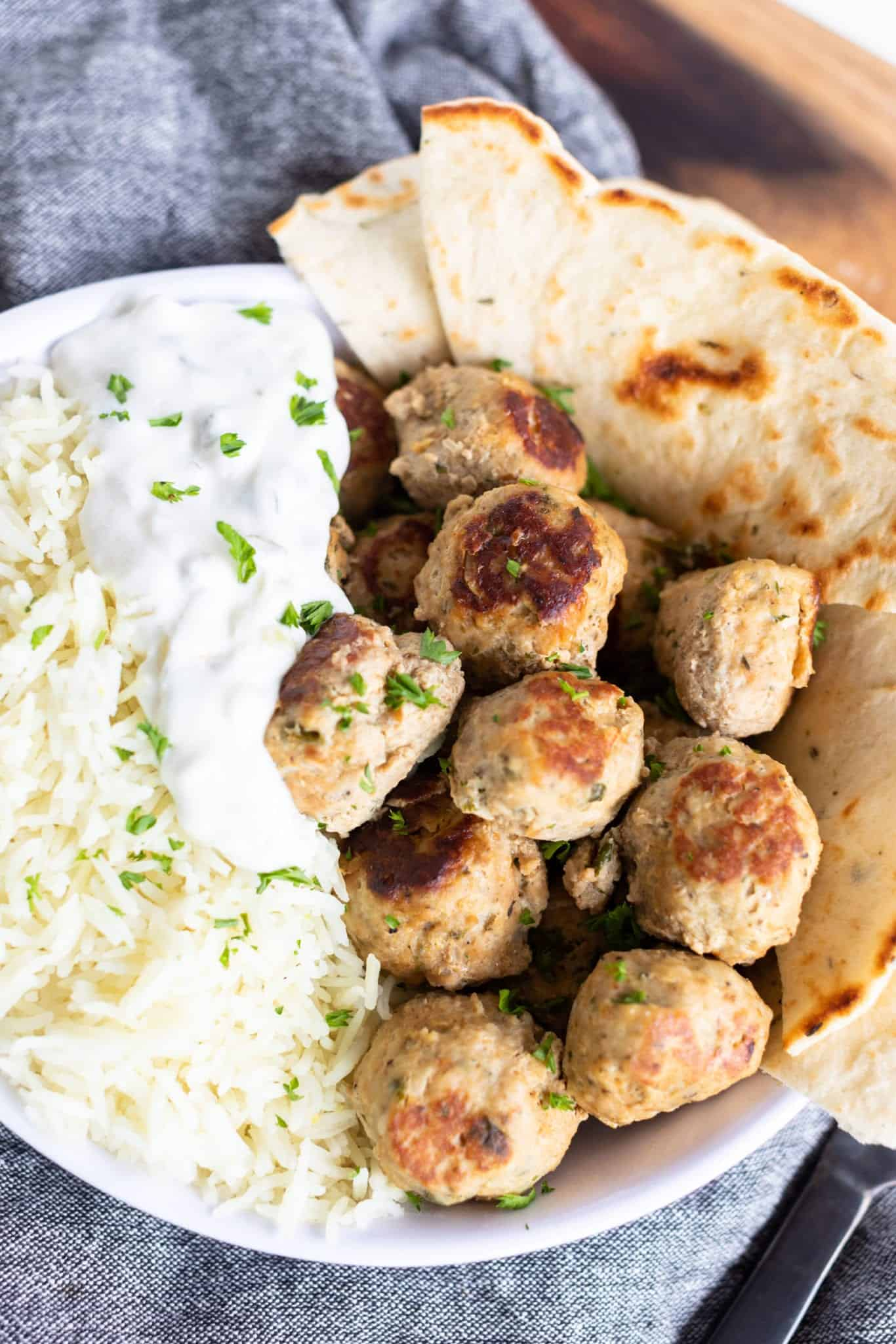 Greek Turkey Meatballs & Tzatziki