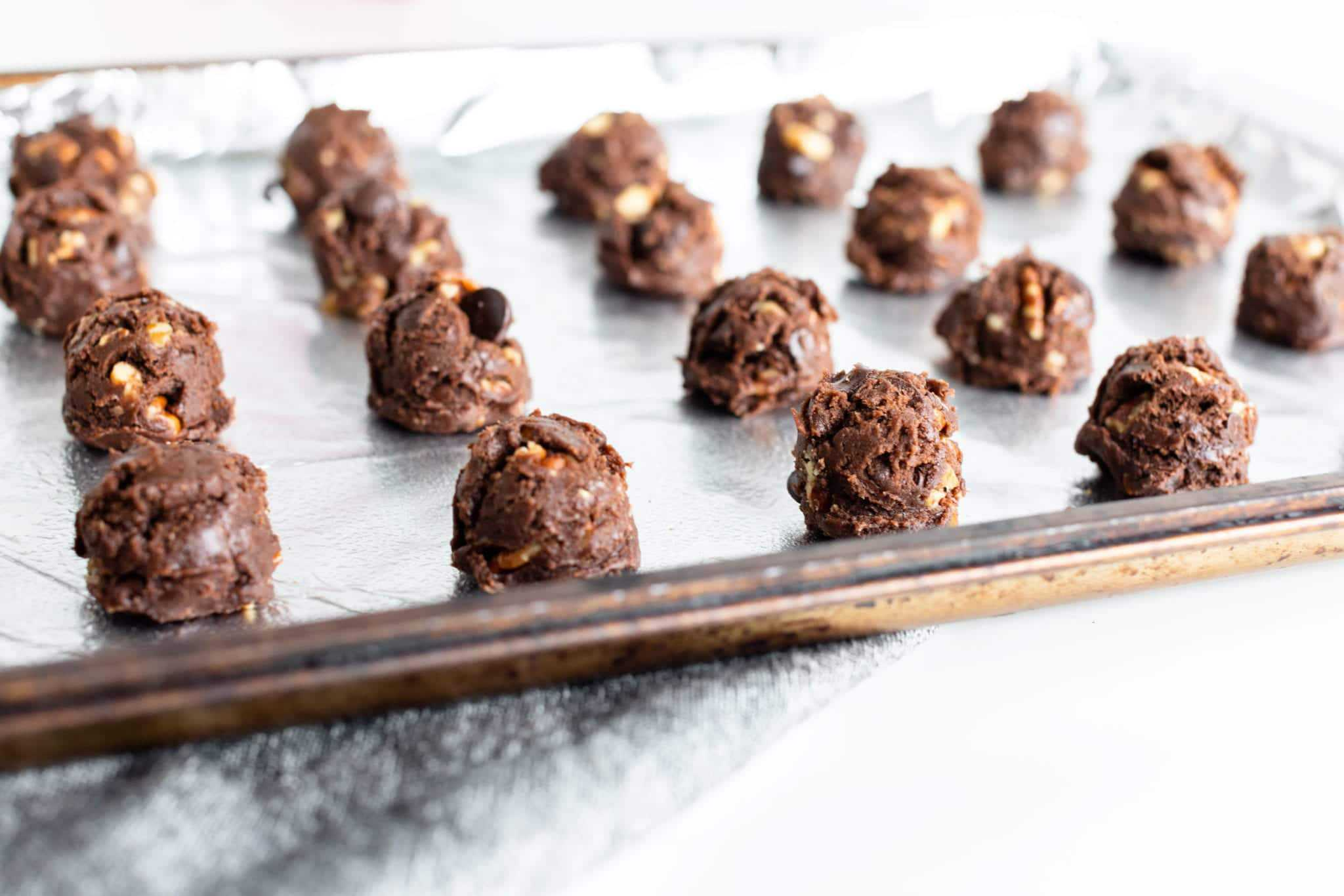Chocolate Pecan Cake Mix Cookies - Cake Mix Cookie Dough using Duncan Hines Devil's Food Cake Mix (dough is scooped on baking sheet with small size scoop - dough is fudgy and thick)