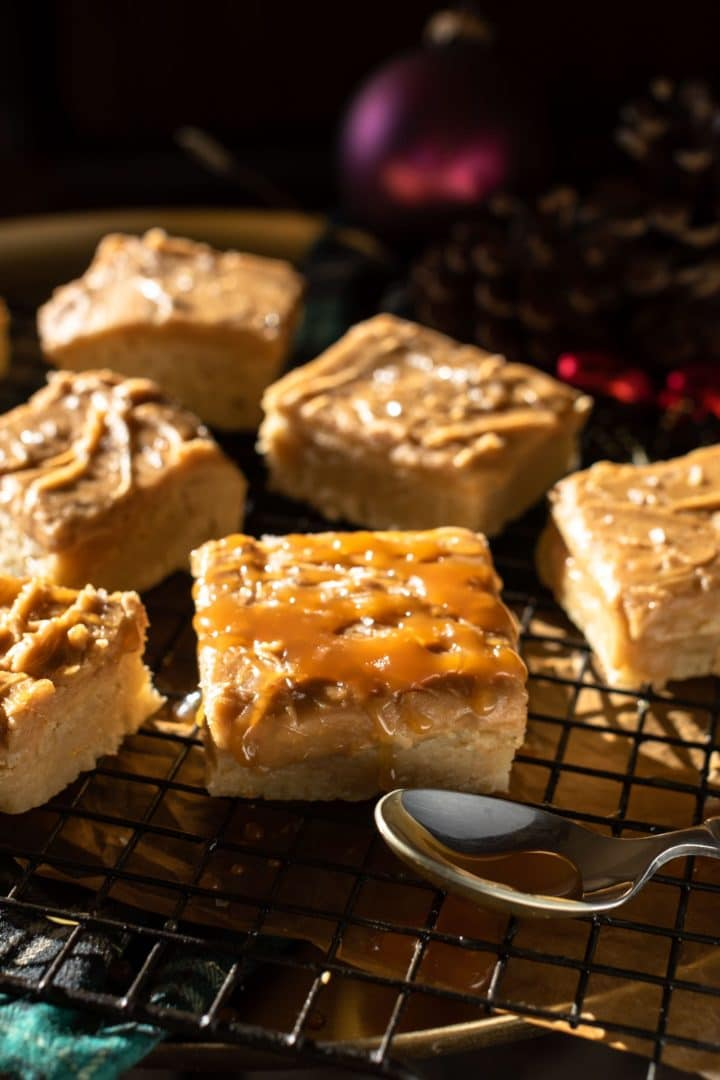Brown Butter Sugar Cookie Bars with Salted Caramel Frosting