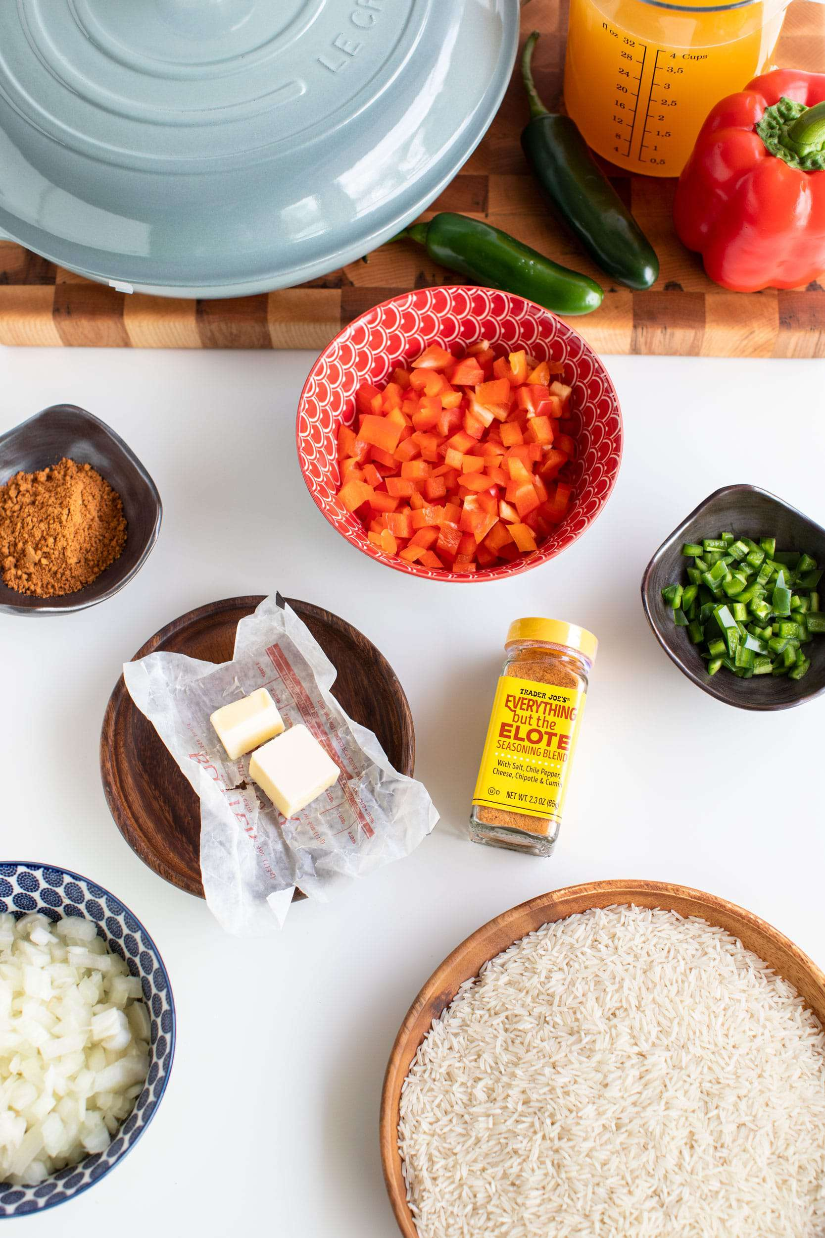 Ingredients prepped and laid out to make Everything but the Elote Chicken & Rice