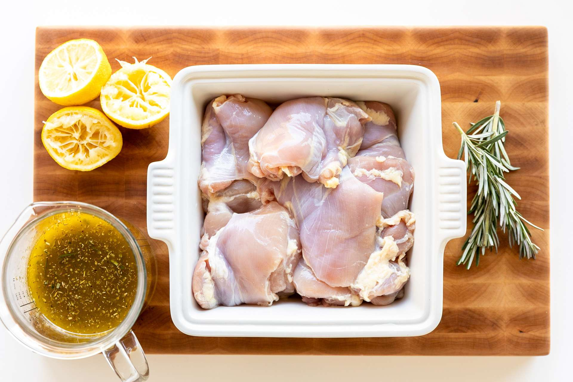 Greek chicken marinade in le creuset casserole dish