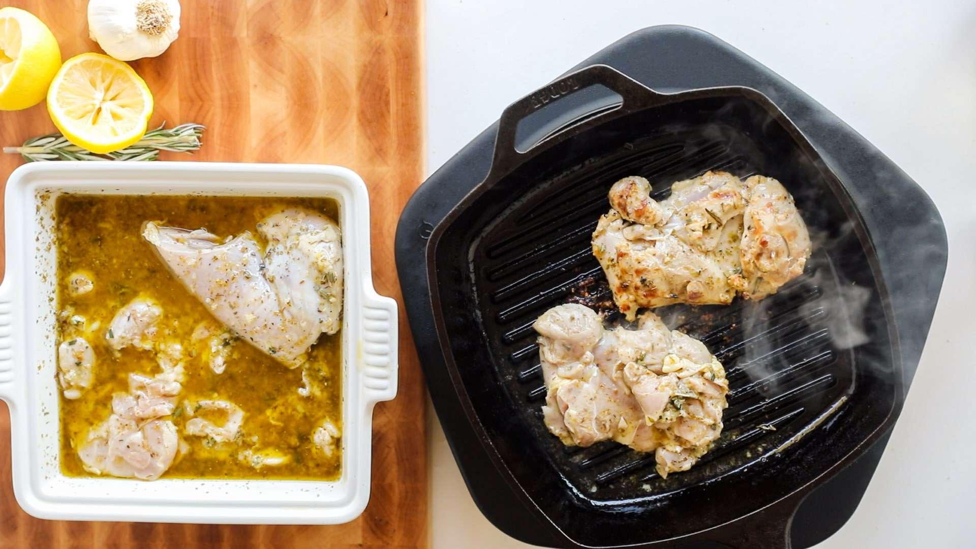 pan searing Greek chicken