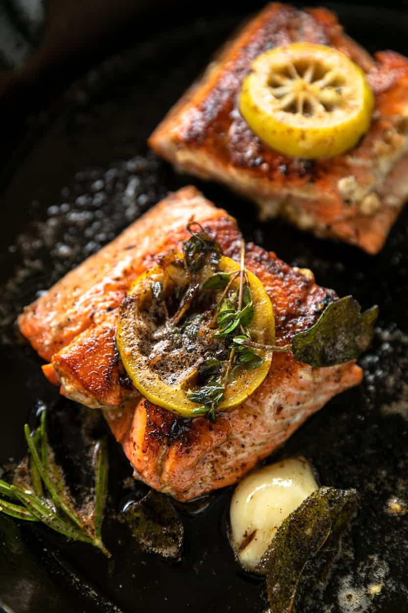 Brown Butter Herb Crispy Skin Salmon and Vegetables