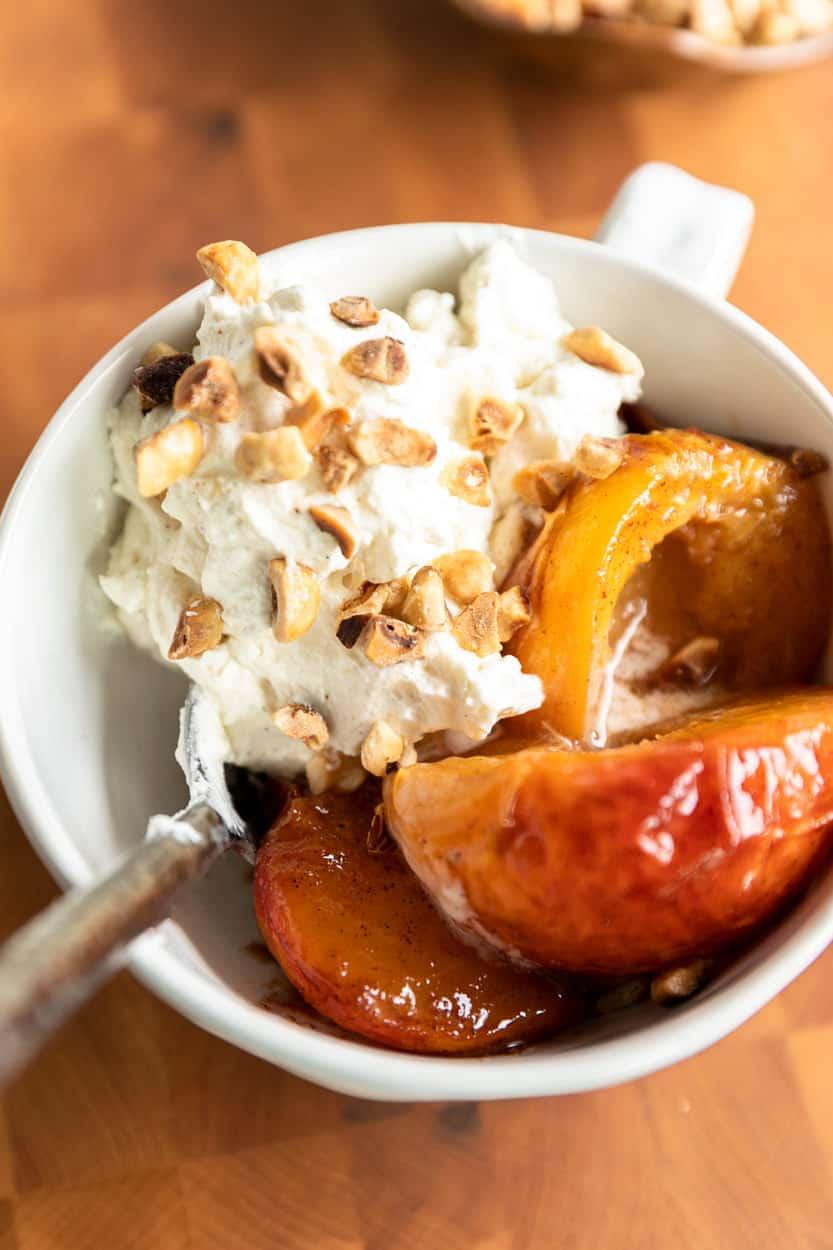 Vanilla Bourbon Peaches and Mascarpone Whipped Cream