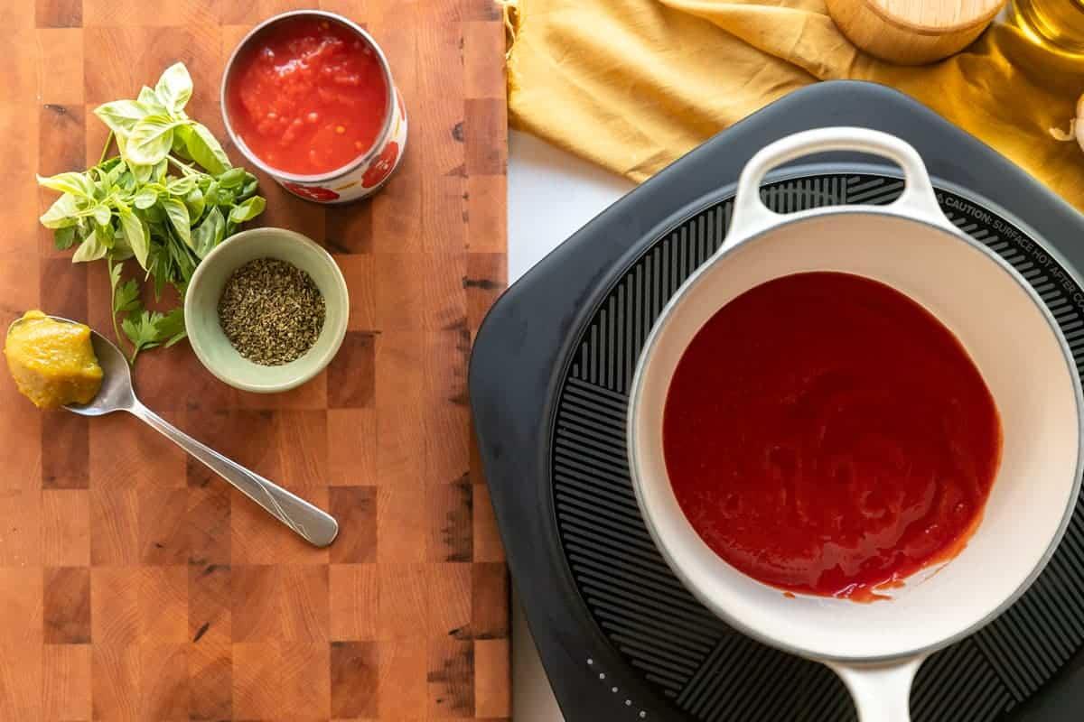 Marinara ingredients and sauce pan