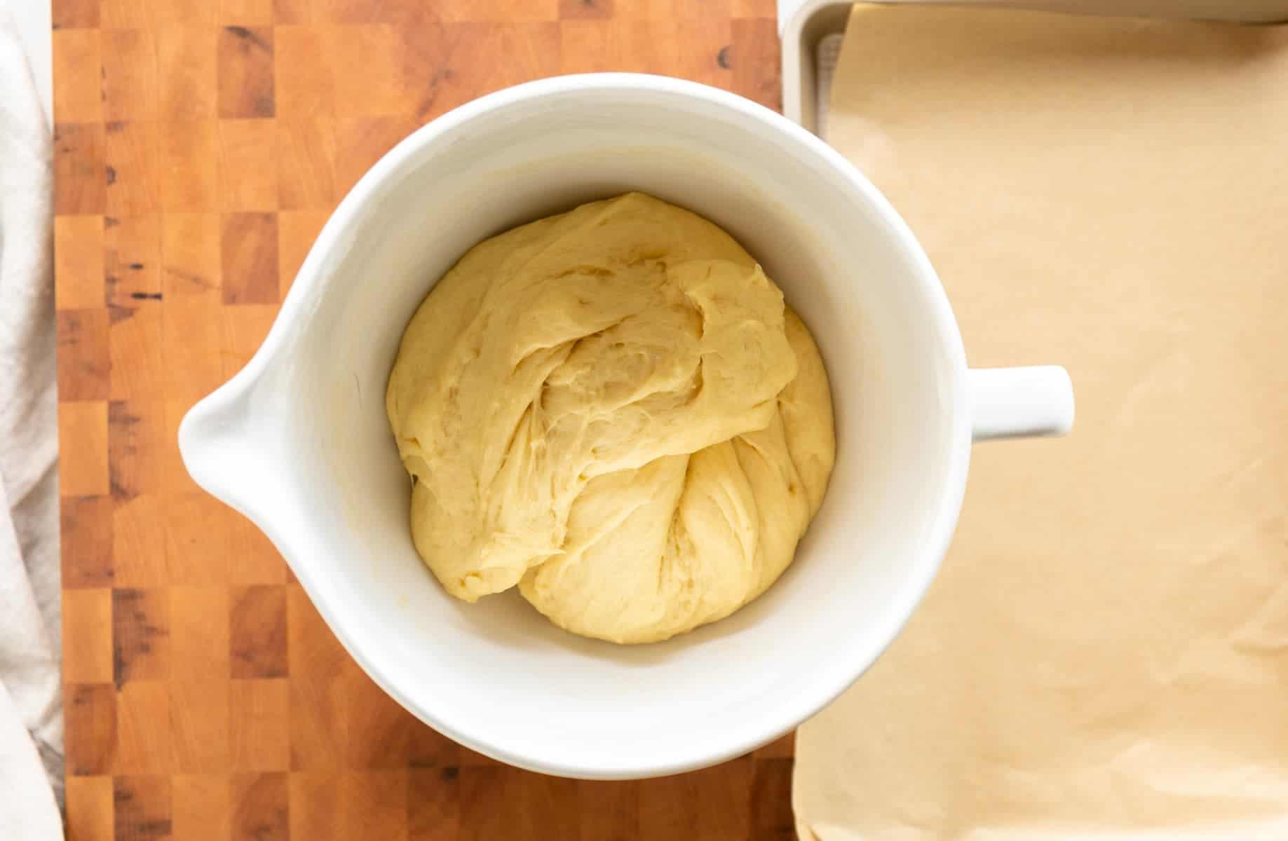 Potato Brioche Burger Bun dough after the first proof.